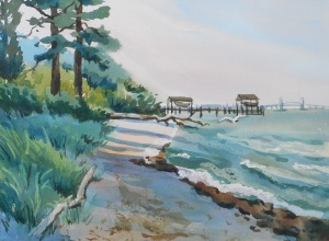 The James River, watercolor, 11x4 inches, 2015