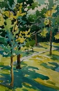 Des Moines Art Center, watercolor, 812 inches, 2015