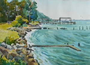 Merry Point Beach, watercolor, 2015