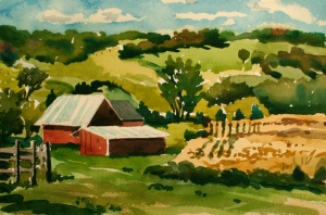 View from Madison County Vineyard, watercolor, 2015